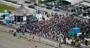 Katie Taylor has been welcomed back to her hometown of Bray, Wicklow this evening, an aerial view of the crowd which had gathered on thesSeafront of the North Wicklow Town. Photograph Nick Bradshaw/The Irish Times