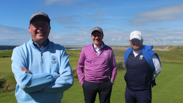Trump's golfing partners: Joe Russell, managing director of Trump International Golf Links and Hotel Doonbeg; Brendan Murphy, director of membership; and Brian Shaw, Doonbeg's golf professional.