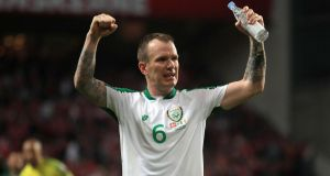 Glenn Whelan reacts after the final whistle of the Euro 2020 qualifier against Denmark in Copenhagen. Photograph:   Bradley Collyer/PA Wire