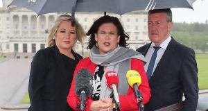 Sinn Fein's Michelle O'Neill, Mary Lou McDonald and Conor Murphy. Photograph: Niall Carson/PA Wire