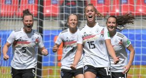 Germany's  Giulia Gwinn (#15) celebrates after scoring  during the World Cup game against China   at the Roazhon Park stadium in Rennes. Photograph: Loic Venance/AFP/Getty Images