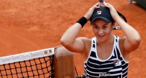 Australia's Ashleigh Barty celebrates winning the French Open. Photograph: Christophe Ena/AP