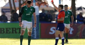 Ireland's Ryan Baird receives a red card during the  World  U20 Championship match against Australia  at the  CRAI Stadium in  Sante Fe, Argentina. Photograph: Pablo Gasparini/Inpho