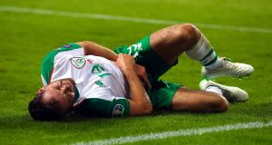 Alan Judge will undergo surgery after injuring his wrist against Denmark. Photograph: Ryan Byrne/Inpho