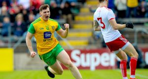 Donegal's Jamie Brennan celebrates scoring a goal during the Ulster SFC semi-final against  Tyrone at Kingspan Breffni Park. Photograph: Tommy Dickson/Inpho