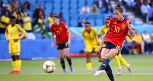 Spain's Jennifer Hermoso  scores the first of her two penalties during the World Cup game against South Africa   at Stade Oceane in Le Havre, France. Photograph: Alex Grimm/Getty Images