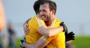 Patrick Gallagher celebrates Antrim's win over Louth. Photograph: Bryan Keane/Inpho