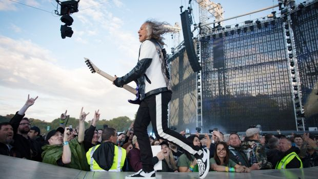Kirk Hammett of Metallica on stage during their concert at Slane Castle, Co Meath, on Saturday. Phorograph: Arthur Carron