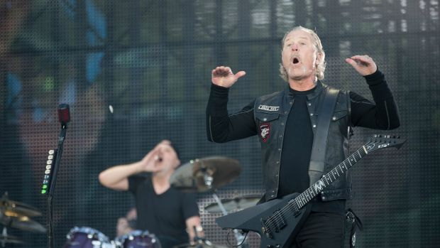 James Hetfield of Metallica during the band's concert at Slane on Saturday. Photograph: Arthur Carron