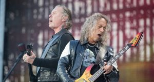 James Hetfield and Kirk Hammett of Metallica during their sold out concert at Slane Castle, Co Meath, on Saturday. Phorograph: Arthur Carron