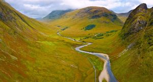 Valley in the Scottish Highlands near Glencoe, Scotland. Photograph: iStock