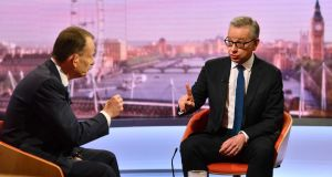 Michael Gove (right) appears on The Andrew Marr Show on June 9th, 2019 in London, England. Gove unveils plans to scrap VAT after Brexit if he becomes British prime minister. Photograph: Jeff Overs/BBC handout/Getty Images