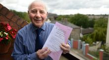 Anthony Lynam (80) from Inchicore, Dublin, who completed his Leaving Cert English exams. Photograph: Dara Mac Dónaill