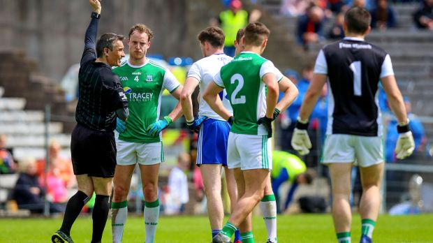 Fermanagh's Lee Cullen is shown a red card during his side's defeat to Monaghan. Photograph: Tommy Dickson/Inpho