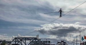 Tightrope walker Chris Bullzini pictured at SeaFest at the Port of Cork. Photograph: Clare Keogh