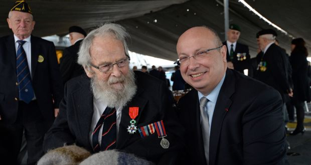 File photograph of Michael d'Alton , a veteran of D-Day (left) after being  presented with the Chevalier de la Légion d'Honneur , by Jean-Pierre Thebault, Ambassador of France. Photograph: Eric Luke