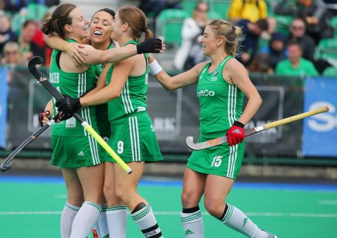 TIME FOR HUGS: Anna O'Flanagan celebrates scoring a goal with her Ireland teammates during the FIH Women's Series Pool A hockey match against Czech Republic at Banbridge Hockey Club, Co Down. Photograph: Jonathan Porter/Presseye