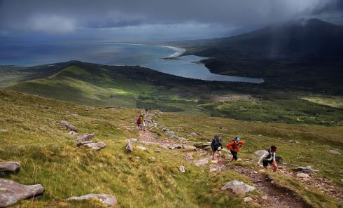 SEEKING ADVENTURE: Athletes compete in the 2019 Dingle Adventure Race on Mount Brandon, Cloghane, Dingle Peninsula, Co Kerry. The  one-day Multi Activity Adventure Race consisted of three courses - biking over the spectacular Conor Pass, climbing Mount Brandon, and running the windy, coastal, peninsular roads. Photograph: Valerie O'Sullivan