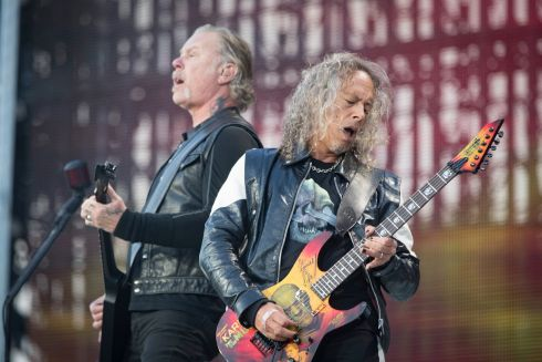 JAW-DROPPING: Metallica's James Hetfield and Kirk Hammett play to 75,000 fans at a sold-out Slane Castle in Co Meath. Photograph: Arthur Carron