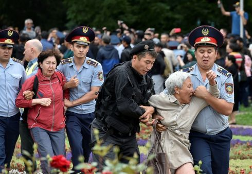 DEMANDING DEMOCRACY: Police detain opposition supporters during a protest against the presidential election, in Almaty, Kazakhstan. The election will confirm Kassym-Jomart Tokayev as successor to Nursultan Nazarbayev, and the process has been seen as undemocratic. Photograph: Mariya Gordeyeva/Reuters