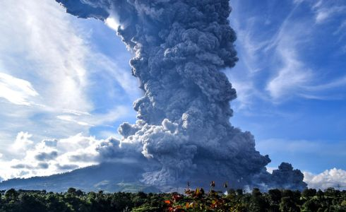 FIRE AND BRIMSTONE: Sinabung mountain spews a huge plume of volcanic smoke and ash, above Tiga Pancur Village, Karo, North Sumatra, Indonesia. Sinabung is one of the most active volcanos in the country. Photograph: Sarianto Sembiring/EPA