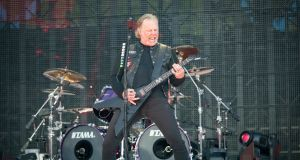 James Hetfield of Metallica on stage at Slane. Photograph:  Arthur Carron