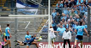 Dublin's  Stephen Cluxton saves a shot from Keith Cribbin of Kildare during the Leinster semi-final at Croke Park. Photograph: Ryan Byrne/Inpho