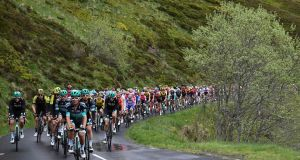 Bora-Hansgrohe riders lead the pack on the first stage of the 71st edition of the Criterium du Dauphine cycling race on Sunday. Photograph: Anne-Christine Poujoulat/AFP