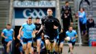 Stephen Cluxton leads out the Dublin team on his 100th Leinster Championship appearance, at Croke Park on Sunday.  Photograph: Ryan Byrne/Inpho