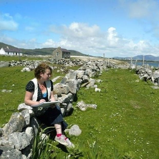 Rosie McGurran at work on Inishlacken, Photograph: Jonathan Porter
