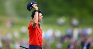 Rory McIlroy on the 18th green after making a putt to win the RBC Canadian Open at Hamilton Golf and Country Club. Photograph: Vaughn Ridley/Getty Images