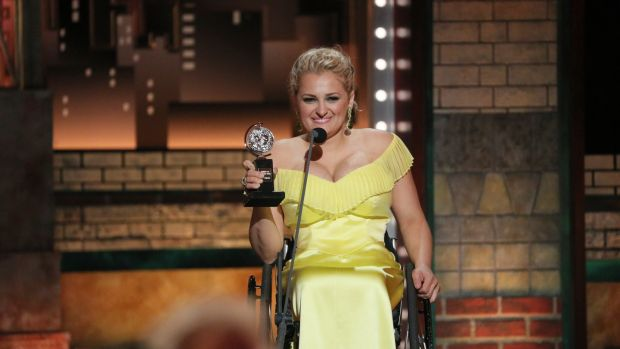 Ali Stroker became the first actor performing in a wheelchair to win a Tony. She won best supporting musical actress for her role in Oklahoma! Photograph: Sara Krulwich/The New York Times