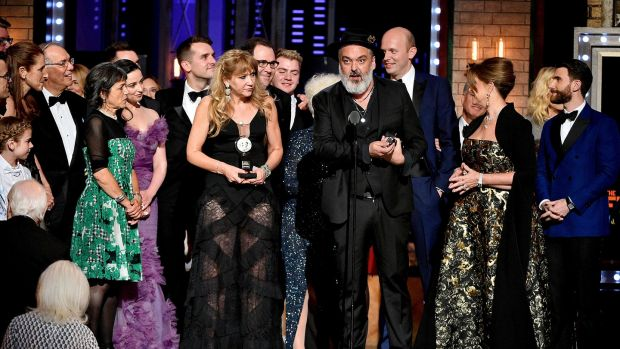 Writer Jez Butterworth and the cast and crew of The Ferryman accept the award for best play at the 2019 Tony Awards at Radio City Music Hall, New York on Sunday. Photograph: Theo Wargo/Getty Images