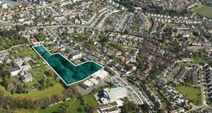 An aerial view of the 3.2 acre residential site at Newtownpark Avenue in Blackrock, Co Dublin.