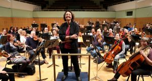 Principal guest conductor Nathalie Stutzmann with the RTÉ National Symphony Orchestra. Photograph: Maxwell