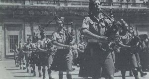 The 38th Irish Brigade of the British army on parade in St Peter's Square on June 12th, 1944