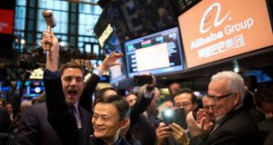 Jack Ma, founder of the Alibaba Group, at the New York Stock Exchange for the Chinese ecommerce giant's initial public offering in 2014