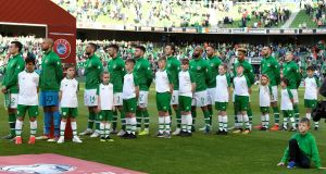 Soccer Football - Euro 2020 Qualifier - Group D - Republic of Ireland v Gibraltar - Aviva Stadium, Dublin, Republic of Ireland - June 10, 2019 Republic of Ireland players before the match Action Images via Reuters/Tony O'Brien