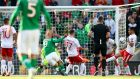 Joseph Chipolina's own goal gave Ireland the lead against Gibraltar. Photograph: James Crombie/Inpho