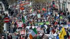 A file image of thousands of people taking part in a 2015 anti-water charges protest in Dublin. Photograph: Dara Mac Donaill/The Irish Times.