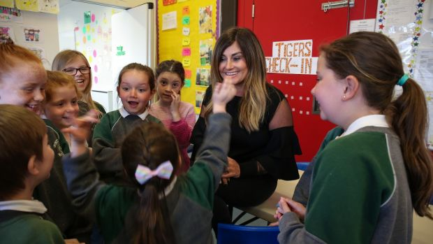Karen Clince, managing director of Tiger Childcare with after school children at St Patrick's N.S., Diswellstown, Castleknock