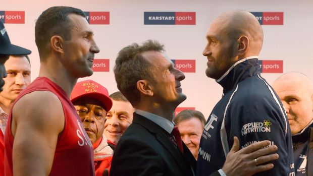 Ukrainian Wladimir Klitschko (left) faces off against Tyson Fury during an official weigh-in in Essen, Germany on November 27th, 2015, the day before the world heavyweight champion lost his title to Fury. Photograph: Patrik Stollarz/AFP/Getty Images