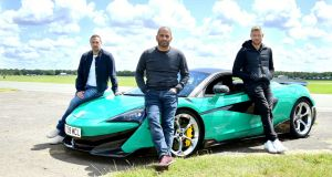 Paddy McGuinness, Chris Harris and Freddie Flintoff with a McLaren 600LT. Photograph: Ian West/PA Wire