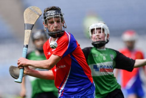Joe Sheppard of Belgrove Senior BNS, Clontarf (L) in action against Conor Dillon of St Mary's BNS, Lucan, in the Corn Herald final. Photograph: Piaras O Midheach/Sportsfile