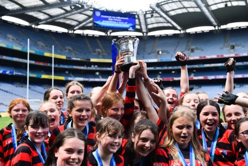 St Colmcille's SNS Knocklyon players celebrate their victory in Corn Bean Ui Phuirseil Cup at Croke Park on Monday. Photograph: Piaras O Midheach/Sportsfile