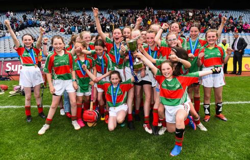 Gaelscoil Mologa, Crois Aralid, Dublin celebrate their victory in the Allianz Cuman na mBunscol Finals at Croke Park. Photograph: Eoin Noonan/Sportsfile
