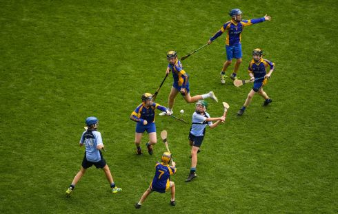 St. Michael's College JS, Ailesbury Road, Dublin take on St. Bridgets BNS, Foxrock at Croke Park Friday. Photograph: Eoin Noonan/Sportsfile