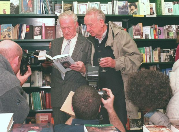 Seamus and Brian Behan in 1997, at the launch of a book about their brother, Brendan Behan: A Life, by Michael O'Sullivan. Photograph: Cyril Byrne