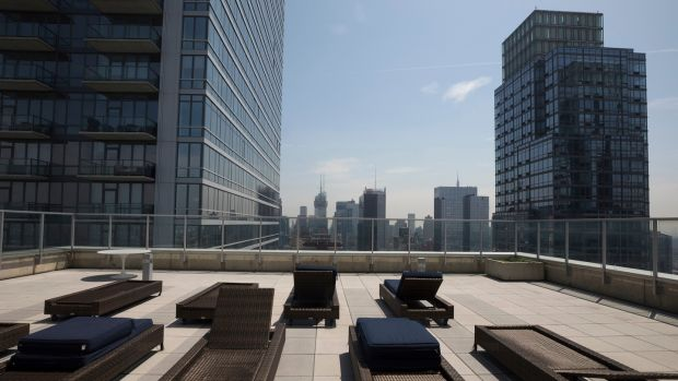The rooftop lounge of the $85m Manhattan condominium. Photograph: James Estrin/The New York Times