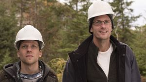 Alexander Skarsgård and Jesse Eisenberg in The Hummingbird Project. Photograph: Sebastien Raymond/Earhlings Productions/TNS